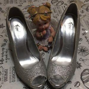 Fioni Night Silver Glitter heels 7